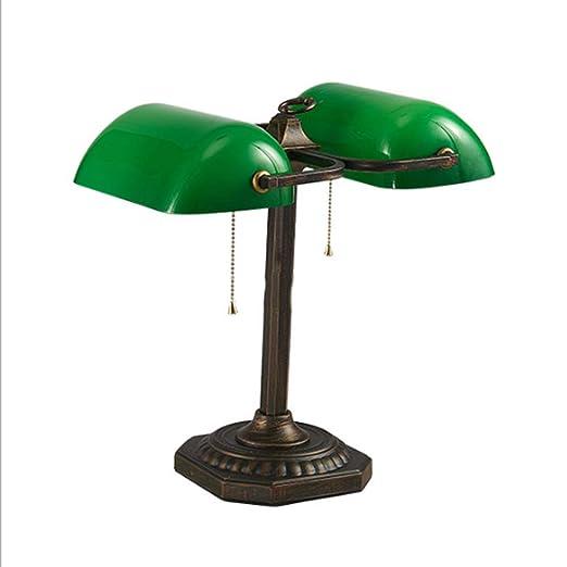 OOFAF LIGHT Lámpara de Mesa, Vidrio Verde Esmeralda Doble Cabeza ...