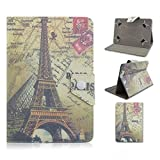 Tsmine Le Pan Mini 8-Inch Tablet Flip Eiffel Tower Case - Universal Protective Lightweight Premium Fashion Retro Stamp Paris Eiffel Tower Printed PU Leather Case Cover, Eiffel Tower