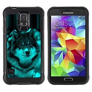 Suave TPU Caso Carcasa de Caucho Funda para Samsung Galaxy S5 SM-G900 / Cute Wolf Dog Winter Snow / STRONG