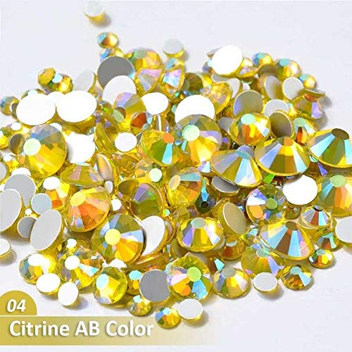 (Nail Art Accessories - Mixed Size AB Colorful Crystal Nail Rhinestones Non Glass Stones 3d Glitter Decorations Gems For DIY Nails - 04 Citrine AB Color)