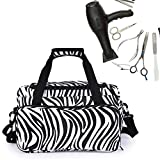 zebra hair dryer - Hairdressing Tools Bag, Salon Barber Handbag Portable Scissors Comb Holder Hairstyling Case Travel Luggage Pouch (Zebra)