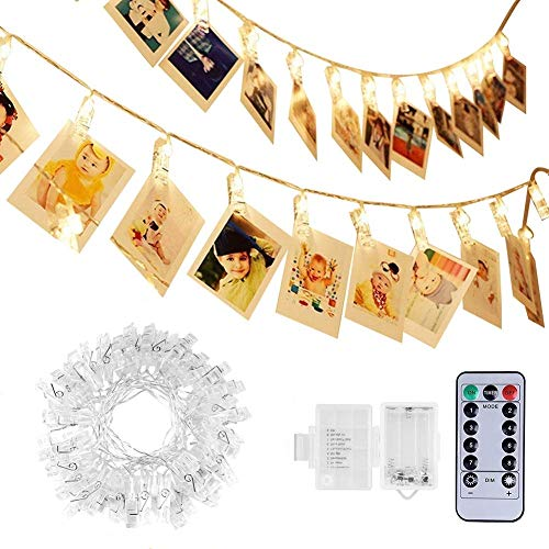 Adecorty 40 LEDs Photo Clips String Lights/Holder, [Remote & Timer] Fairy String Lights with 16.4ft 3xAA Batteries Powered Ideal Gift for Baby Teen Girls Bedroom Wedding Decor (Warm White 8 Modes) by Adecorty