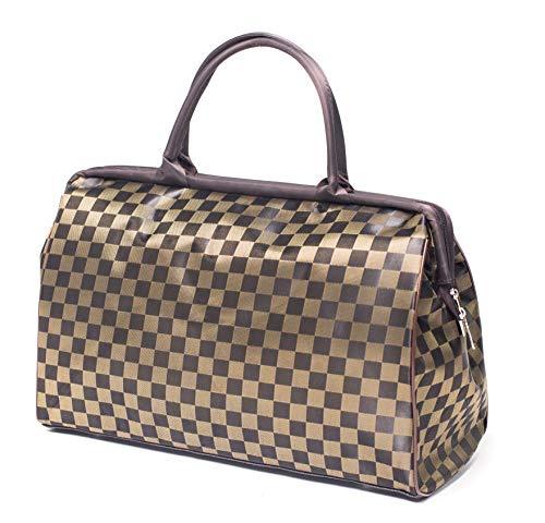 ilishop Women's Retro Vintage Style Travel Bag Shoulder Hobo Bag Purse Handbag Tote New (Coffee-plaid)