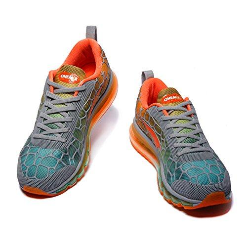 Adulto Deportes de Onemix Air Naranja Running Zapatillas Mujer Gris Hombre Atlético Respirable Unisex FTqYB