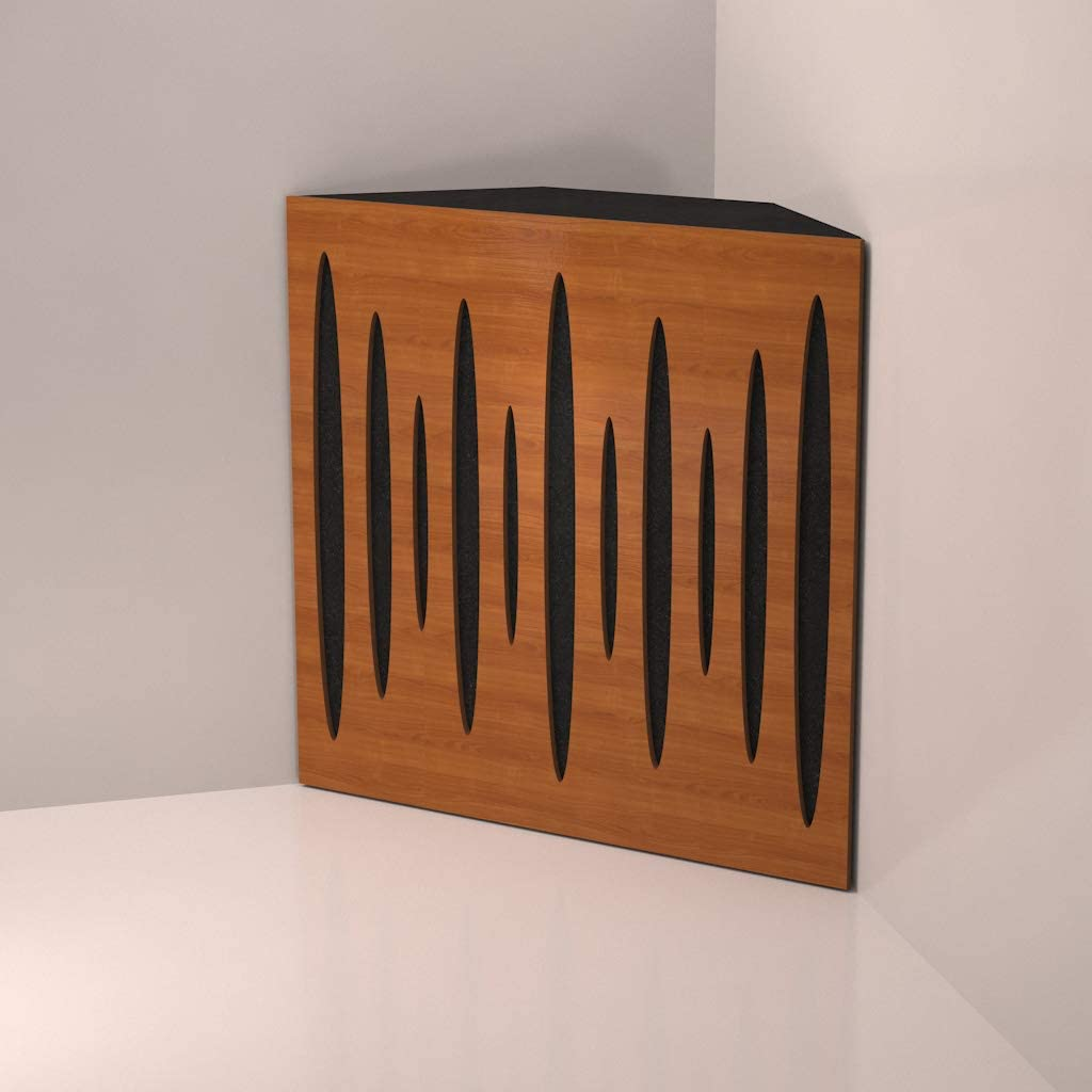 "Amazon.com: (4 Pack) Corner Bass Trap,""Pulse"" acoustic foam panel for Rec Studio | Wood laminated: (Cherry): Musical Instruments"