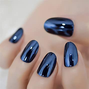 Metallic Oval Navy Blue Medium Nails Mirror Amazon Com