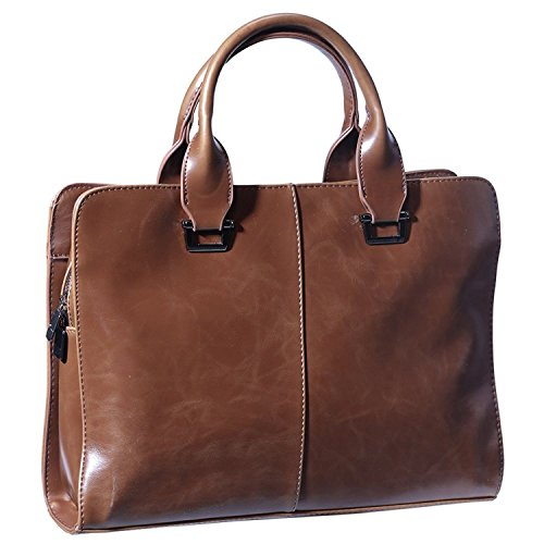 JINDILONG Mens PU Leather Briefcase 10-13.3 Inch Shoulder Laptop Bag Messenger Bag Waterproof Brown ()