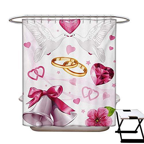 BlountDecor Wedding Shower Curtains Sets Bathroom Wedding Themed Artwork Invitation Announcement Hearts Rings Birds Happiness Satin Fabric Sets Bathroom W69 x L70 Pink White Orange ()