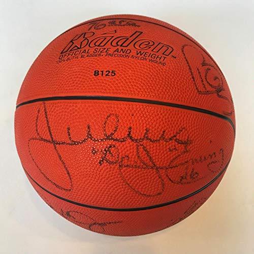 Basketball Barkley Autographed (1985-86 Philadelphia 76ers Team Signed Basketball With Dr. J Charles Barkley - Autographed Basketballs)