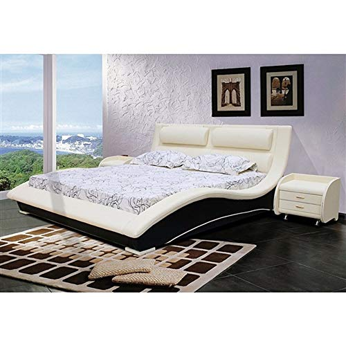 Cream Faux Leather Headboard - MyEasyShopping Queen size Modern Curvy Upholstered Platform Bed with Headboard in Cream Black Faux Leather French Footboard Wood Antique