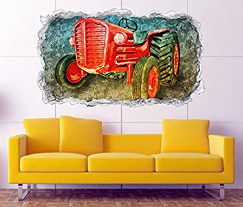 3d Wandtattoo Traktor Auto Fahrzeug Bauer Wand Aufkleber Durchbruch