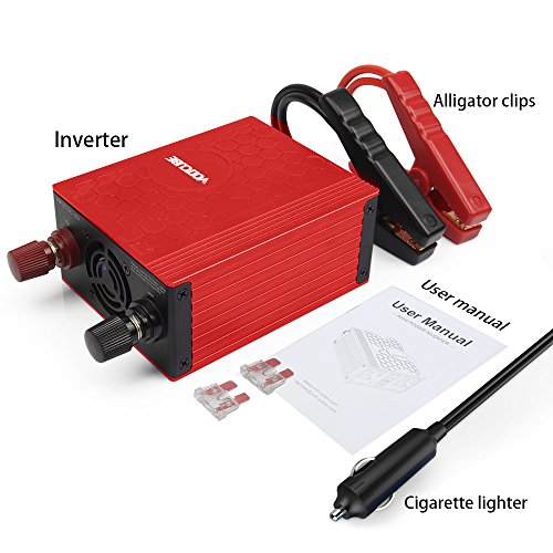 VOLTCUBE 400W Power Inverter, 12V DC to 110V AC Car Adapter with Twin 2.4A USB Ports and Two Independent AC Outlets (Red) by VOLTCUBE (Image #1)