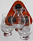FLIGHT TRAY SET WITH TWO GLENCAIRN SCOTCH WHISKY GLASSES & IONA WATER PITCHER