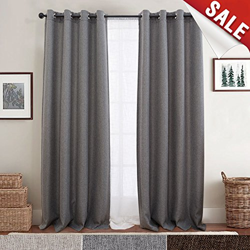 (jinchan Curtains for Bedroom Linen Textured Window Curtain Panels for Living Room Darkening Drapes Grommet Top One Panel L 84