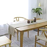 HOME BRILLIANT Rustic Burlap Table Runner 12x72 Inch Imitated Linen Table Runner Pub Massage Picnic Table Runner for Parties, Natrual Linen