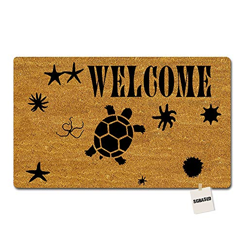 (SGBASED Entrance Floor Mat Welcome Door Mat Welcome Sea Turtle Mat Outdoor & Indoor Front Doormat Non-Woven Fabric (30 X 18 inches))