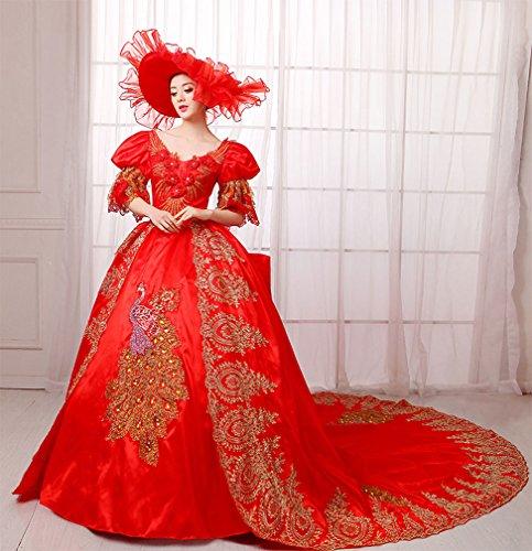Zukzi Women's Gorgeous Victorian Train Ball Gown Wedding Dress, US 18, #W018 Red by Zukzi (Image #1)