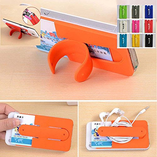 - KaLaiXing 10pcs Mix Color Universal Silicone Stick on Credit Card Holder with Phone Stand - Fits Apple iPhone 6, 6 Plus, 5s, 5, 4,Sony Xperia Z3, Samsung Galaxy S5, S4, S3, Note 3, 2, 1, iPod Touch