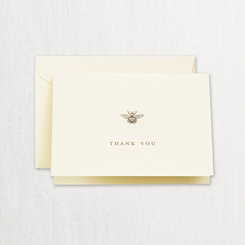 Crane & Co. Engraved Ecru Bumble Bee Fold Over Note- Pack of 20 Cards