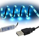 Rxment LED Strip USB Powered RGB Waterproof TV Backlight Background Lighting Kit - 100CM (3.28Ft) 5V 5050 30LED for HDTV, Desktop PC etc