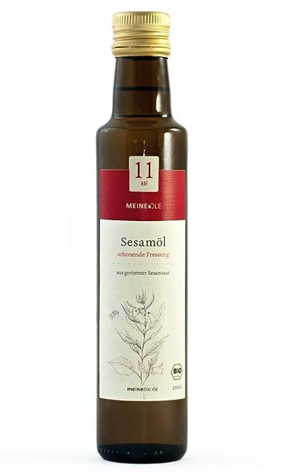 Meineöle Bio Sesamöl, schonend in Deutschland gepresst, Sesamsaat aus ökologischem Landbau, aus gerösteter Sesamsaat, Ideal f