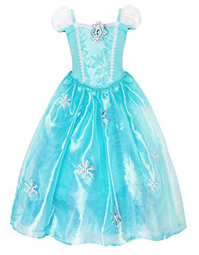 Cotrio Elsa Snow Party Queen Short Sleeve Costume Fancy Dresses Kids Clothes Halloween Cosplay Outfits Size 8 (7-8 Years, Blue, 130)]()