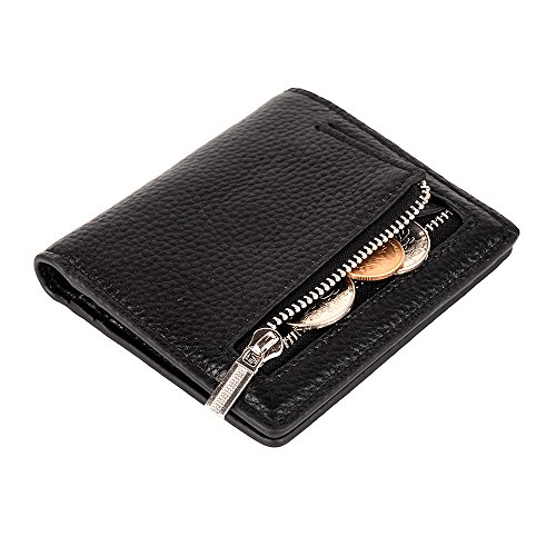 Black Mini Wallet - Women's Leather RFID Small Compact Bifold Pocket Wallet Ladies Mini Purse with id Window (Black)