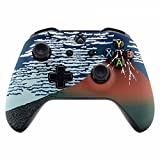 eXtremeRate Fine Wind Clear Morning Mount Fuji Faceplate Cover, Soft Touch Front Housing Shell Case, Comfortable Soft Grip Replacement Kit for Xbox One S & Xbox One X Controller