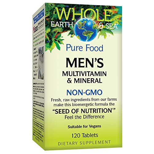 Whole Earth & Sea from Natural Factors, Men's Multivitamin & Mineral, Whole Food Supplement, Vegan and Gluten Free, 120 Tablets (60 Servings)