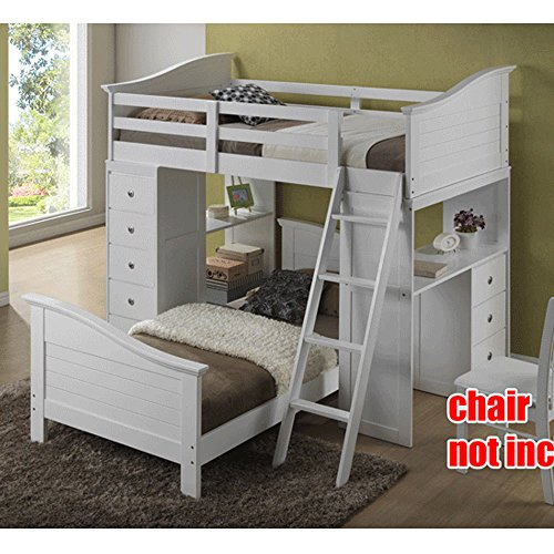 1PerfectChoice Youth Kids Bedroom Twin Loft Bed Ladder Workstation Chest Drawer Desk Wood White