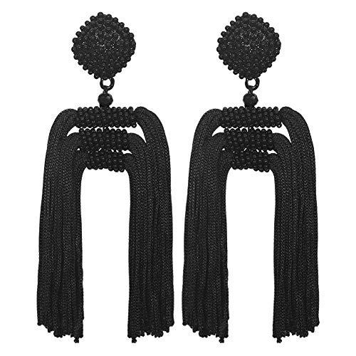 Black Beaded Dangling Earrings with Tassel- Bohemian Statement Handmade Earrings for Ladies(Black)