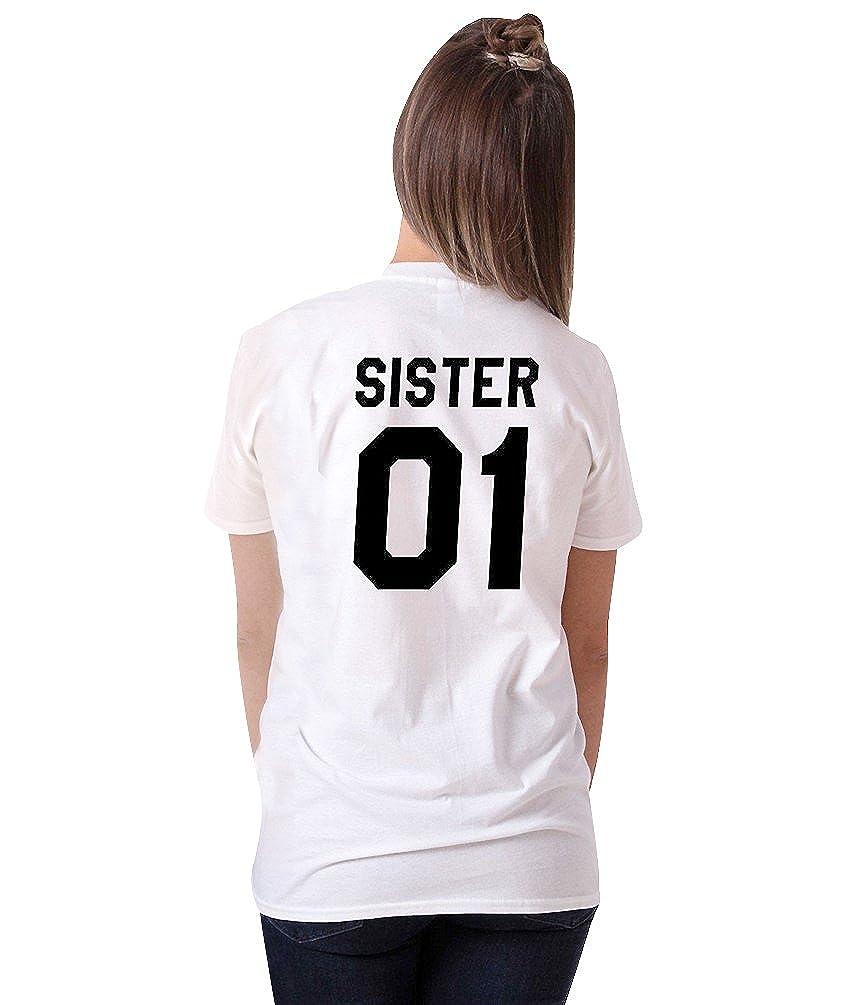 ZKOO Donne T-Shirt Sorella Meravigliosa Fratello Lettere Gli di Stampa Manica Camicetta Puro Sport