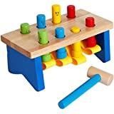 YIRAN Deluxe Wooden Pounding Bench with Mallet Early Educational Development Toys for Preschool Toddlers