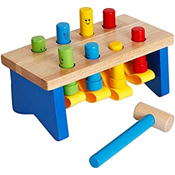 Deluxe Wooden Pounding Bench with Mallet Early Educational Development Toys for Preschool Toddlers