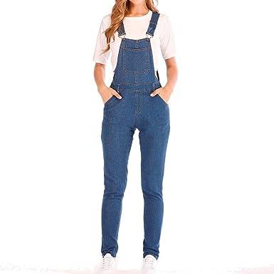 1f996e9a Rambling Fashion New Womens Denim Ripped Hole Bib Overall Jumpsuit Casual Jeans  Pants (Blue D