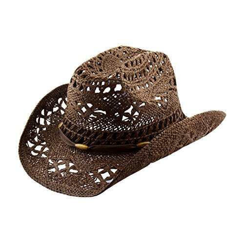Brown Stylish Toyo Straw Beach Cowboy Hat W/Shapeable Brim, Boho Modern Cowgirl