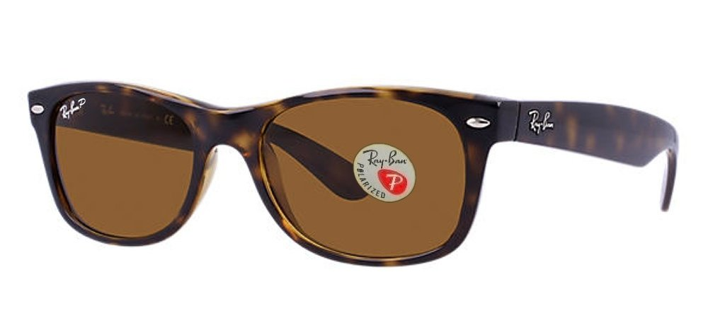 Ray-Ban RB2132 New Wayfarer Sunglasses Unisex (Tortoise Frame Polarized Solid Brown Lens, 55)