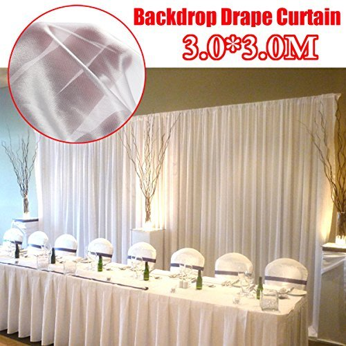 White Ice Silk Backdrop Drapes Curtains Wedding Valance Ceremony Event Party Veils Photo Booth Home Windows Valances (300 X 300cm) by dDanke