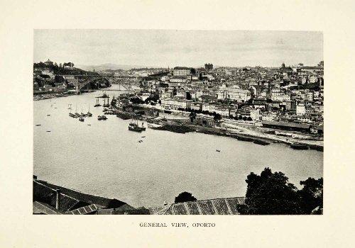 1915-print-oporto-portugal-birds-eye-view-coastal-cityscape-historic-image-original-halftone-print