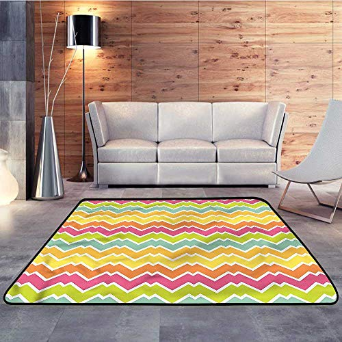Baby Care Play Mat,Chevron,Two Parallel Lines JaggedW 59