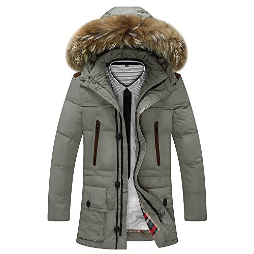 Thickened Collar JACKETS Sleeves Down Length Jacket Zipper DYF Medium FYM Coat Grey Long z6fXw