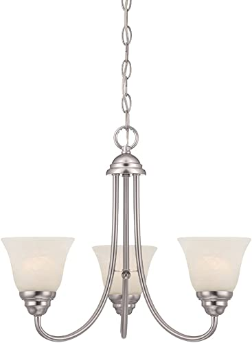 Designers Fountain 85183-SP Kendall 3 Light Chandelier, Satin Platinum