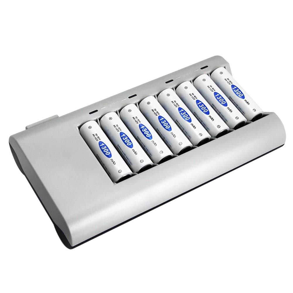 Hoonee Cargador de bater/ía de 8 Ranuras Cargador de bater/ía 110-240v AA//AAA Cargador de bater/ía port/átil