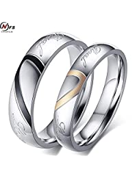 Myn Jewelry Fashion Silver Plated Heart Couple Ring Set Crystal Wedding Jewerly Ring For Men and Women