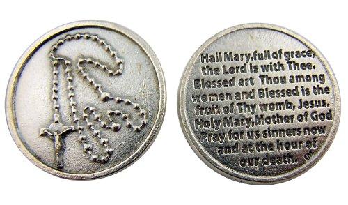 Pocket Token Gods (Rosary with Hail Mary Blessed Holy Mother of God Prayer Pocket Token Keepsake)