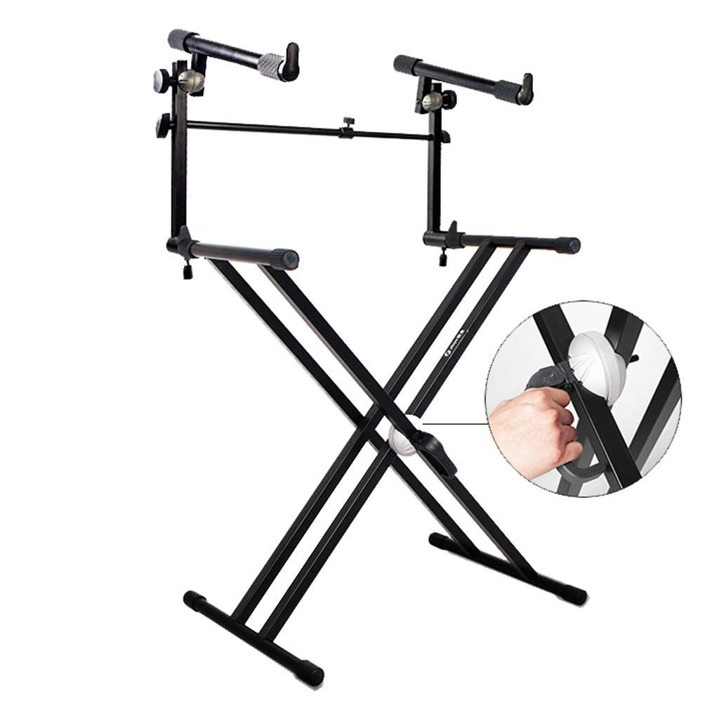 Synthesizers & Workstations Keyboard Stand Piano Stand Keyboard Stand and Bench Set Iron Double Stage Guzheng Home Keyboard Stand (Color : Black, Size : High 100cm) by Synthesizers & Workstations