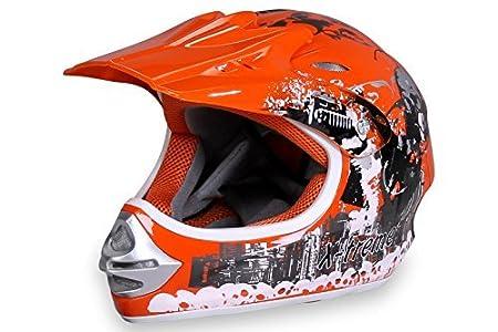 Actionbikes Motorradhelm X-Treme Kinder Cross Helme Sturzhelm Schutzhelm Helm fü r Motorrad Kinderquad und Crossbike Modell in orange (X-Small) BLD-818