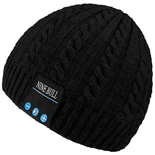 nine bull Bluetooth Beanie Hat, HD Stereo Bluetooth Headphones Wireless Smart Beanie Headset Winter Music Knit Speaker Hat Speakerphone Cap, Built-in Mic (Black)