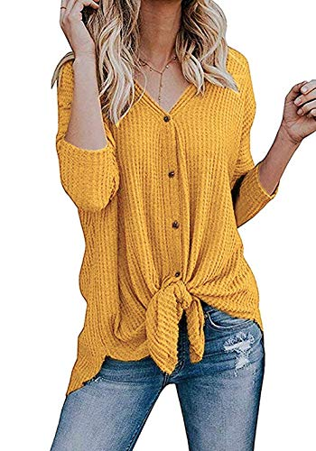 Chuhee Women's S-3XL Button Down Blouse Shirt Tie Knot Thermal Tops Mustard S