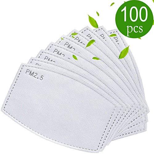 🥇 drftgyui Filtro de carbón Activo de Repuesto para Ropa Meltblow 5 filtros de Tela PM 2.5 filtros antihaz 100 Pack